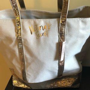 Victoria Secret Cream and Gold Shimmer Tote Bag